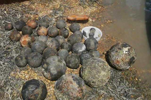 Cannonballs Washed up on Coastline at Gosport
